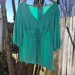My Collection Top 3X Blouse  3/4 Sleeves Green